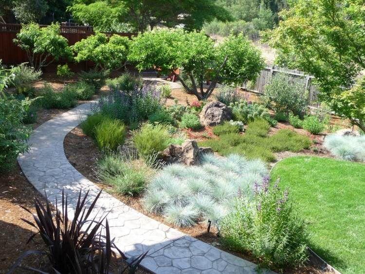 Mediterraner Garten - planen, anlegen und Tipps Mediterraner - garten mit grasern und kies