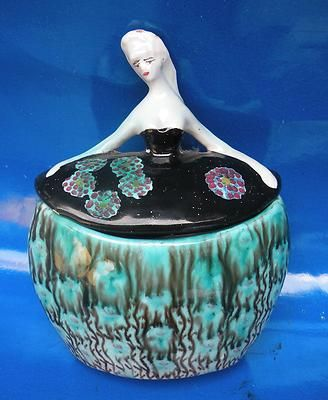 Antique Art Deco Italian Ceramic Ceramiche Figurine Box