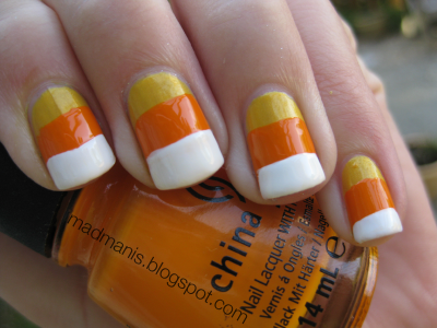 Mad Manis Candy Corn Nails Halloween Nail Art Halloween Manicure