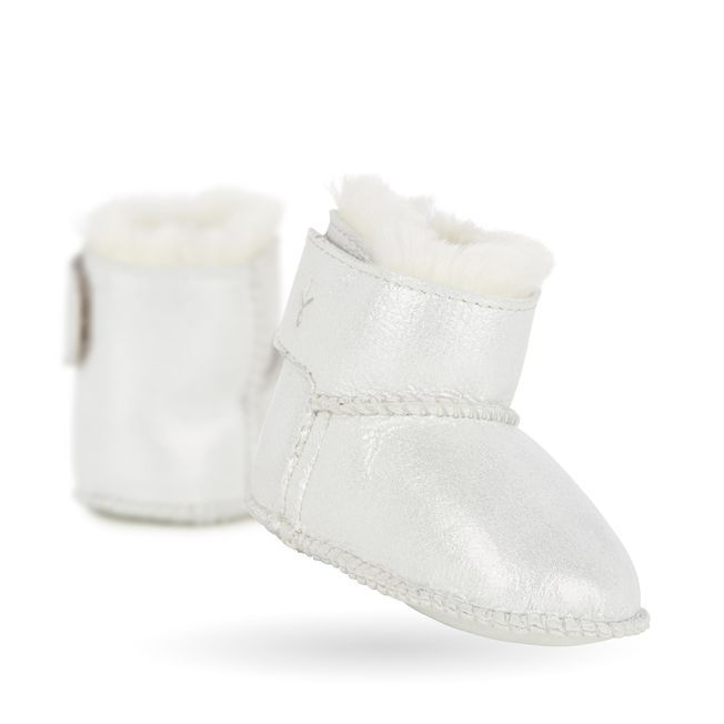 cb4fb01530 Emu Baby Bootie Metallic, SILVER Sheepskin Boots, Winter, Easy Access, Cosy,