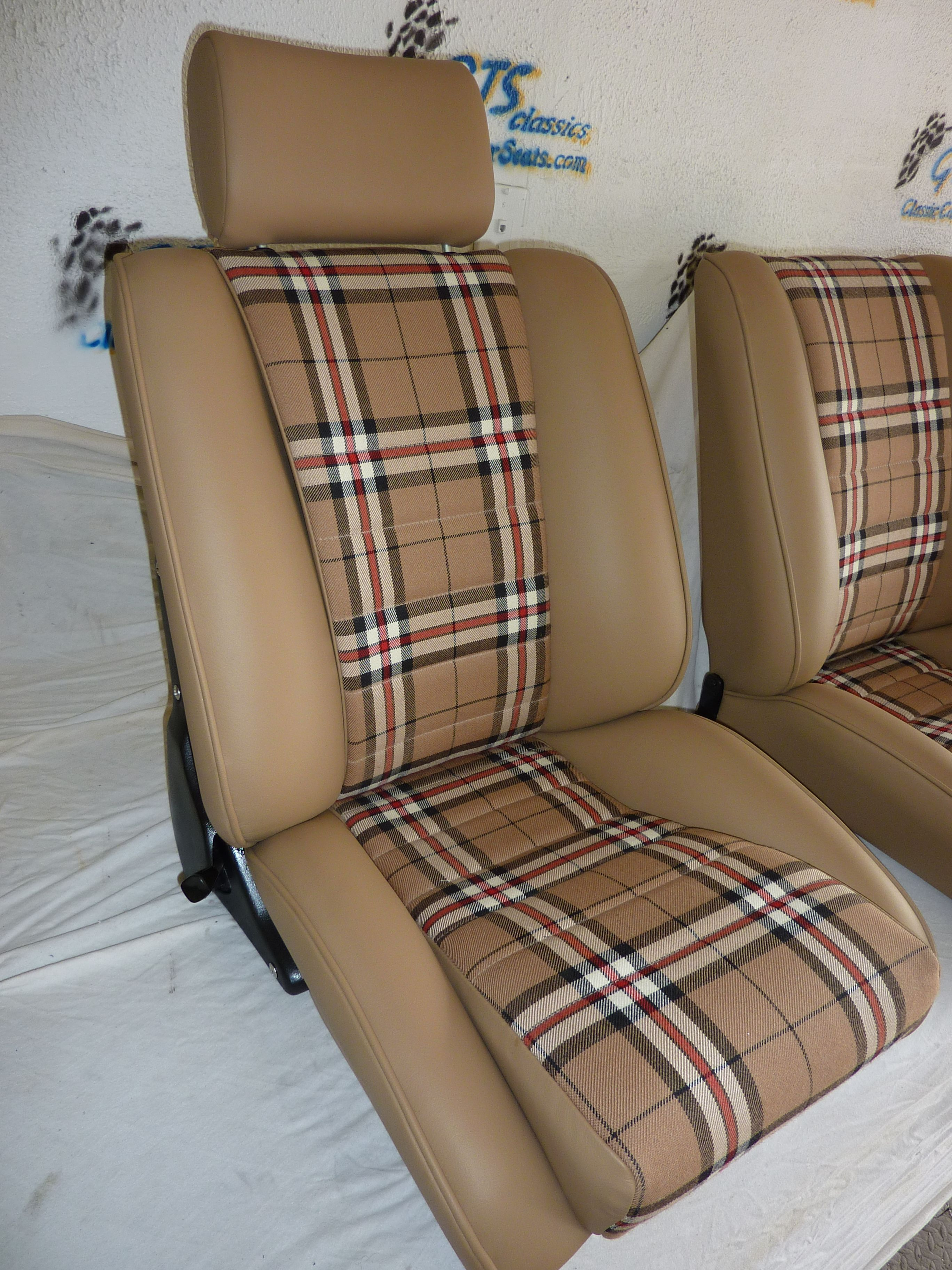 Our 39 sport s 39 seats in tan leather w thompson plaid - Burberry fabric for car interior ...