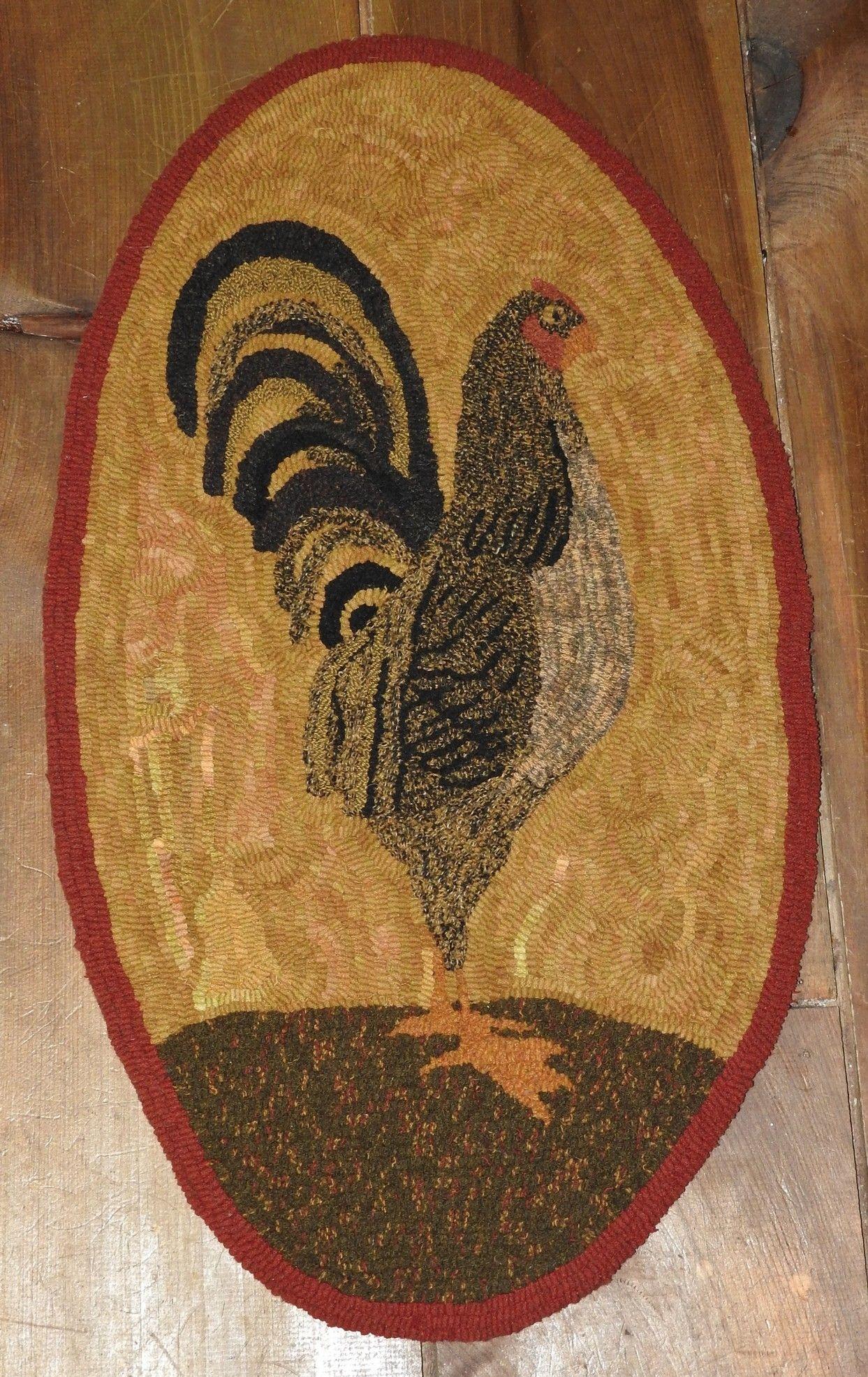 Primitive Rooster Rug Hooking Pattern