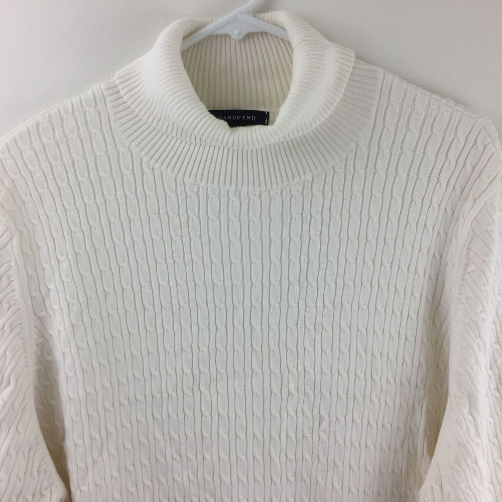 Lands End Womens Plus Size 3X White Cable Knit Cotton Turtleneck ...