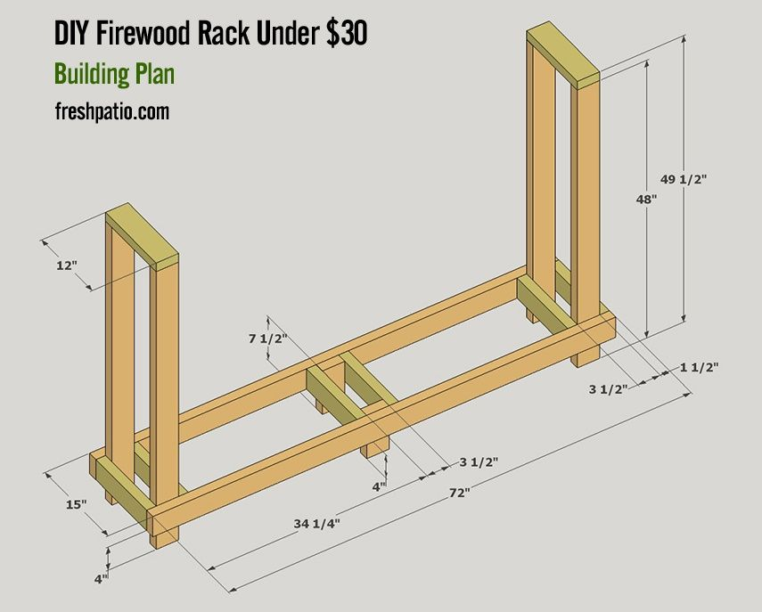 4 Free Firewood Rack Plans Built From 2x4s Two Under 30 Firewood Rack Firewood Rack Plans Outdoor Firewood Rack