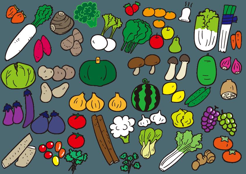 野菜群 沢山の野菜 イラスト イラスト 野菜 手書きポップ