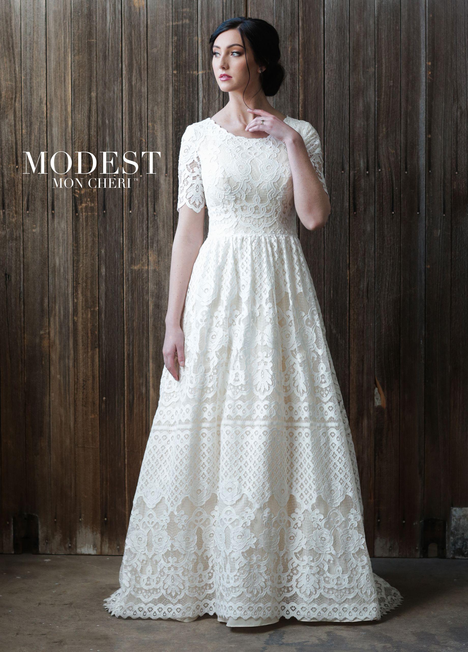 Lace Aline Conservative Wedding Dress TR21864 Modest