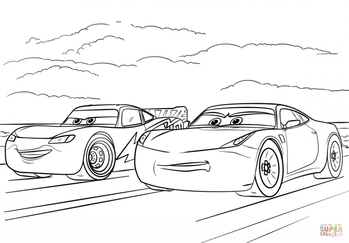 8 Cars 3 Colouring Pages In