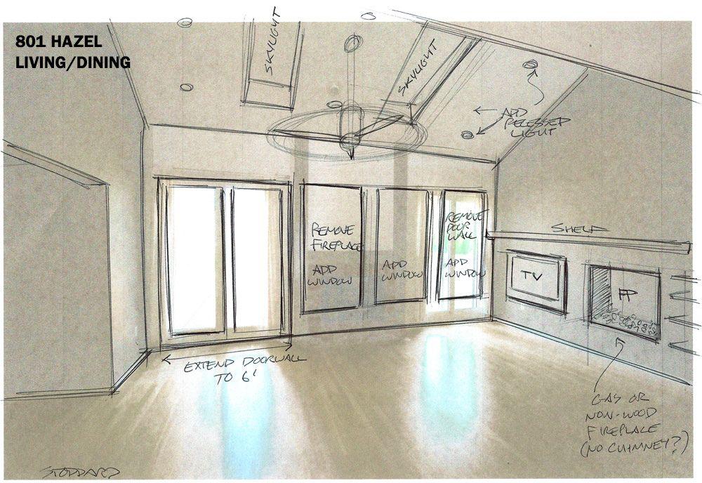 Interior renovation ideas sketch. Simple et ingénieux !