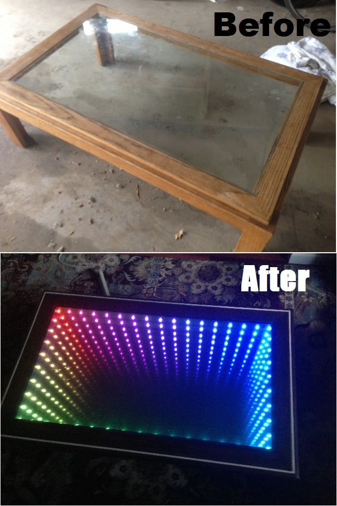 infinity mirror in 2018 diy of nerdiness pinterest tisch led und bauideen. Black Bedroom Furniture Sets. Home Design Ideas