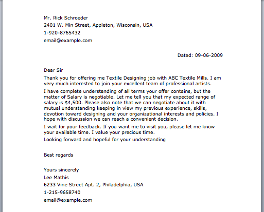 Negotiation Letter  Letter Samples    Letter Sample