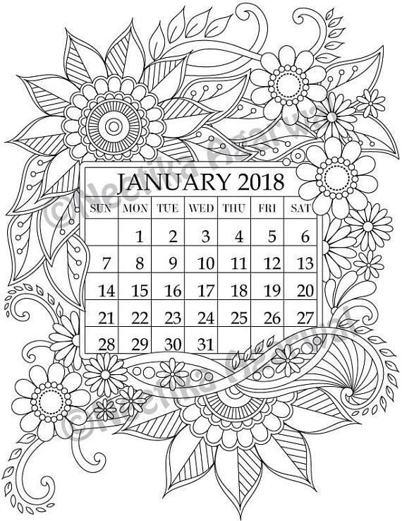 January 2018 Coloring Page Calender Planner Doodle Coloring