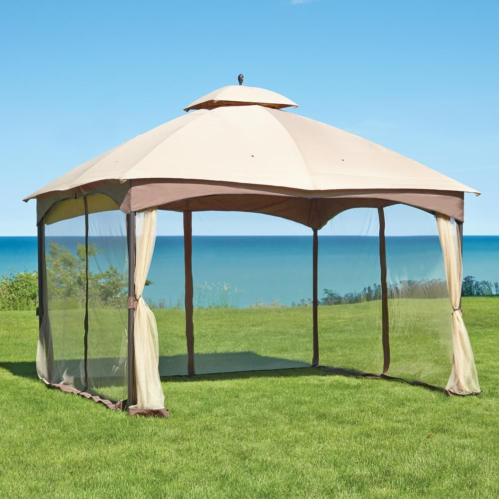 Hampton Bay Massillon 10 Ft X 12 Ft Double Roof Gazebo Gazebo Tent Gazebo Outdoor Gazebos