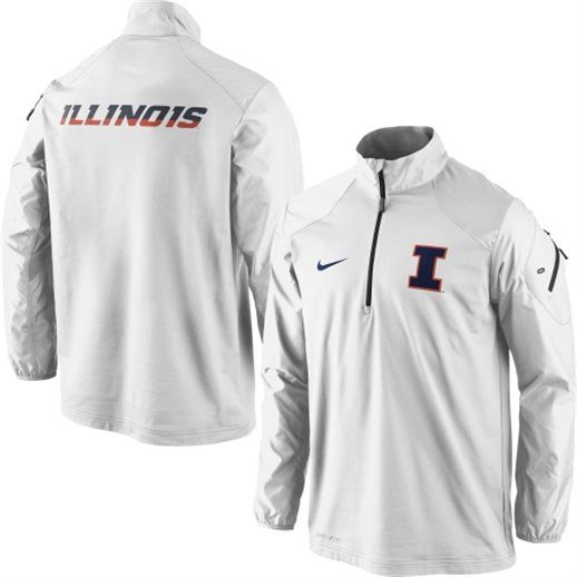 Illinois Fighting Illini White Coaches Nike Half Zip Performance Jacket 6768aab2a