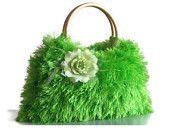 Knitted fur handbag on Etsy