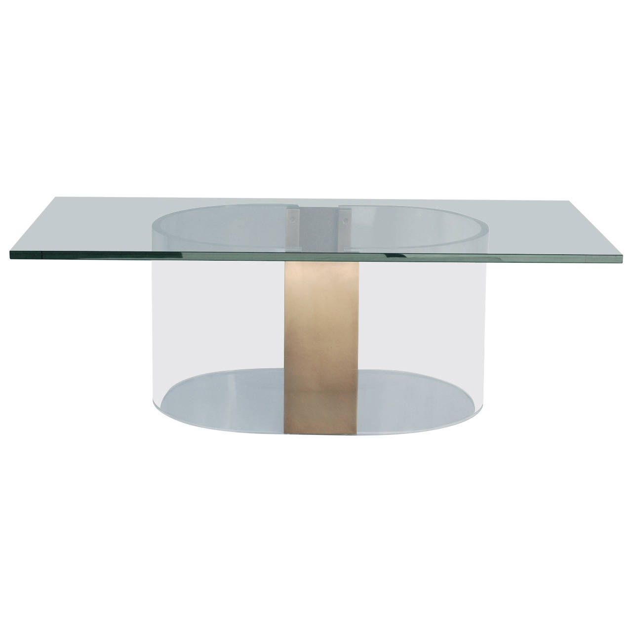 This 1970s Coffee Table Base Has Been Replated In A Burnished Br And The Lucite Professionally Polished Dimensions Are 29 Long X 20