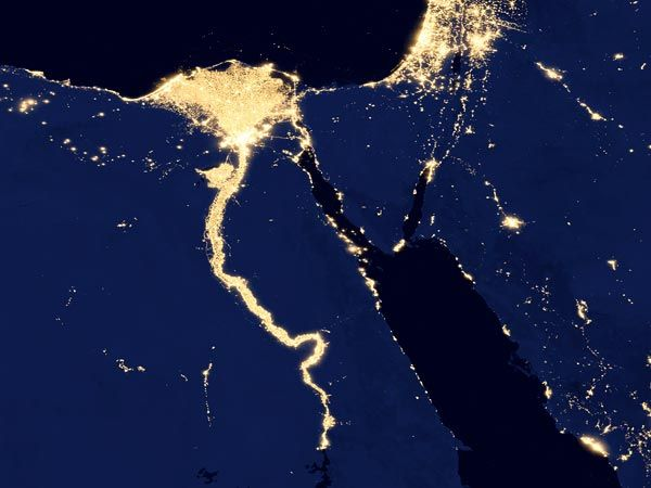 Pictures New HD View Of Earth At Night City Lights Nile River - World satellite night view