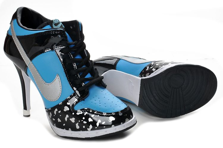 For Womens Nike Blue Black Dunks Sb Heels