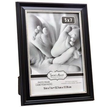 "Black Plastic Photo Frame with Silver Plastic Inner Edge, 5x7"""