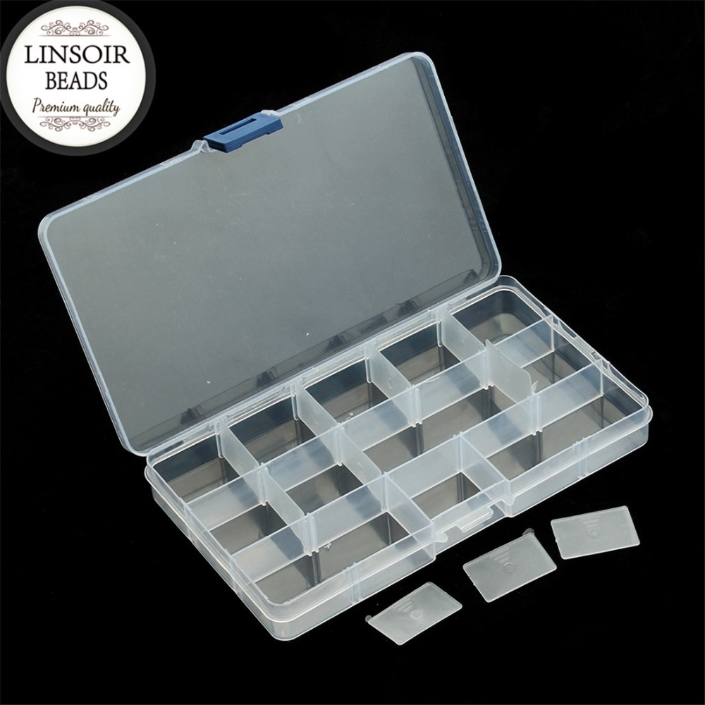 172 Buy here LINSOIR 15 Cells Compartment Plastic Jewelry