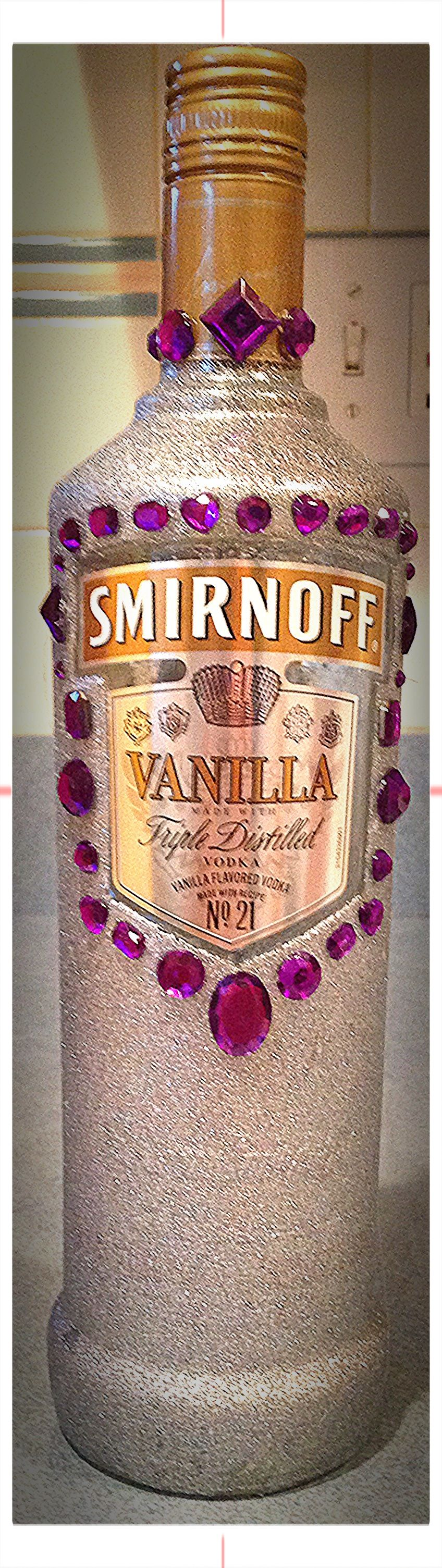 Decorated alcohol bottle glitter spray paint purple for How to decorate a bottle with glitter
