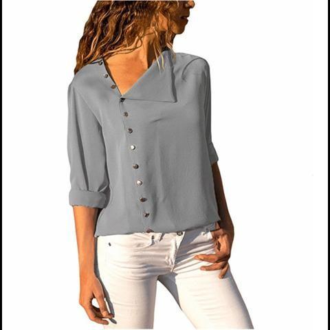 99ed094ce8de7 2018 Autumn Women Blouse Shirt Long Sleeve Elegant Ladies Blouses Button  Casual Top Gray Black Female