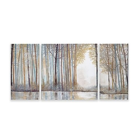 Bon Madison Park Forest Reflections Gel Coated Canvas Wall Art (Set Of 3)