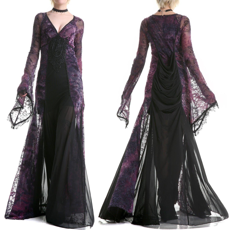Robe gothique longue en violte et noire crazyinlove france