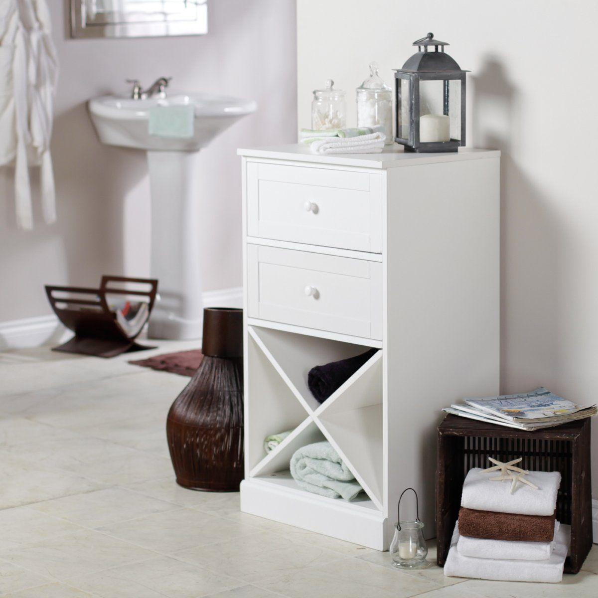 Lucca Home Bathroom Cabinet with Drawers - White - Bathroom Cabinets ...