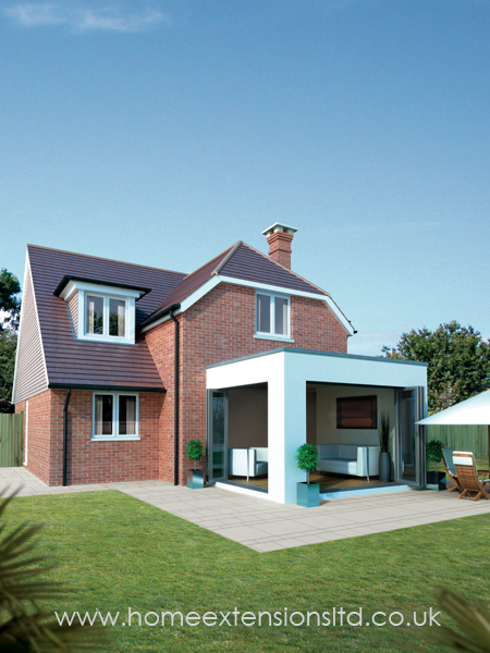 Modern Flat House Design: Modern Flat Roof Home Extension