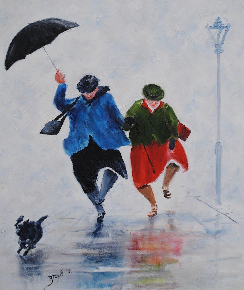 'street Dance' Des Brophy Watercolor Art