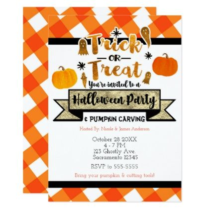 Trick or Treat Rustic Orange Halloween Party Card - rustic gifts