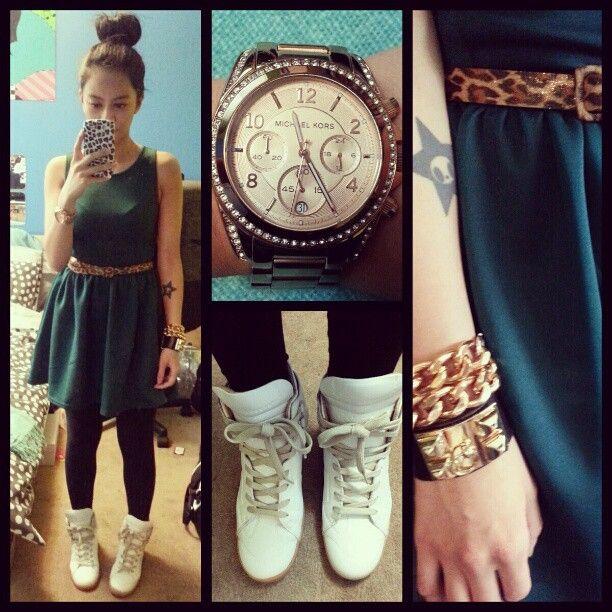 Forest green dress, Margiela x HM sneakers