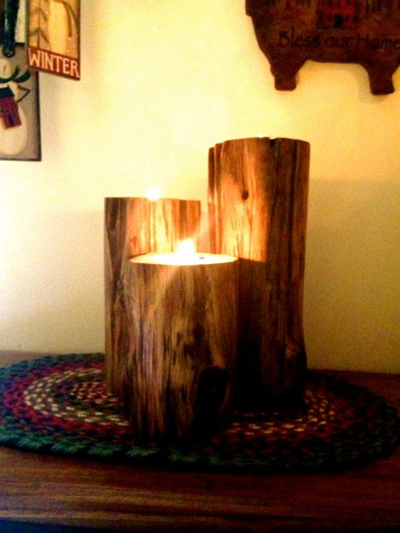 Set of 3 log pillar candle holders by CreationsbyJeremy on Etsy, $35.00