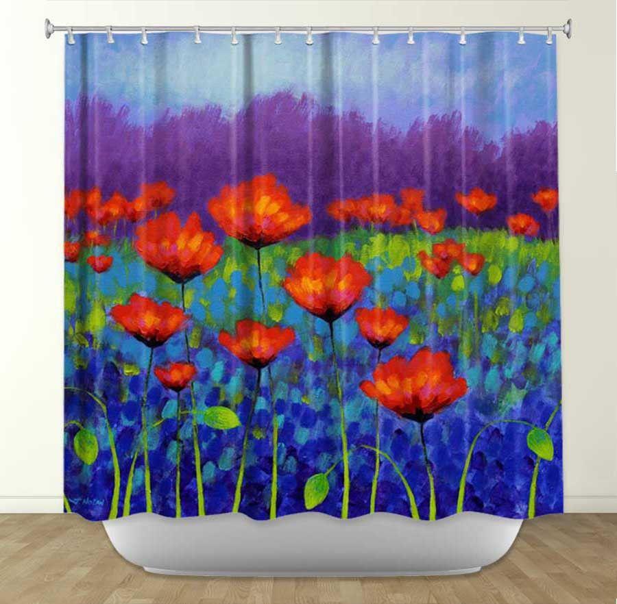 DiaNoche Designs Poppy Meadow By John Nolan Fabric Shower Curtain