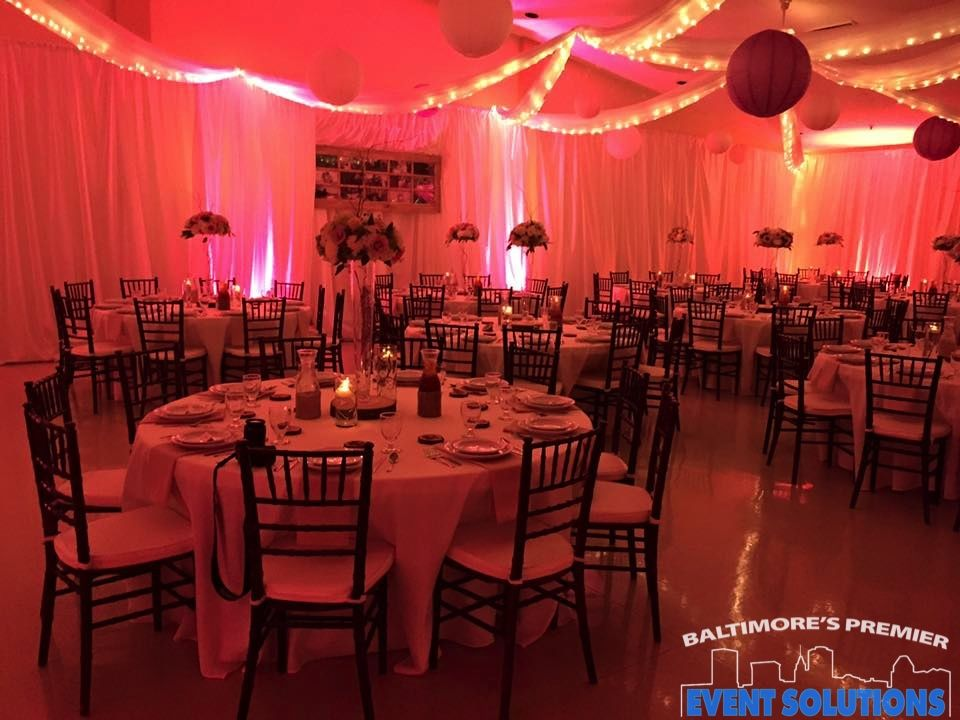 Lighted Ceiling Drape Pipe And Drape And Uplights For Wedding