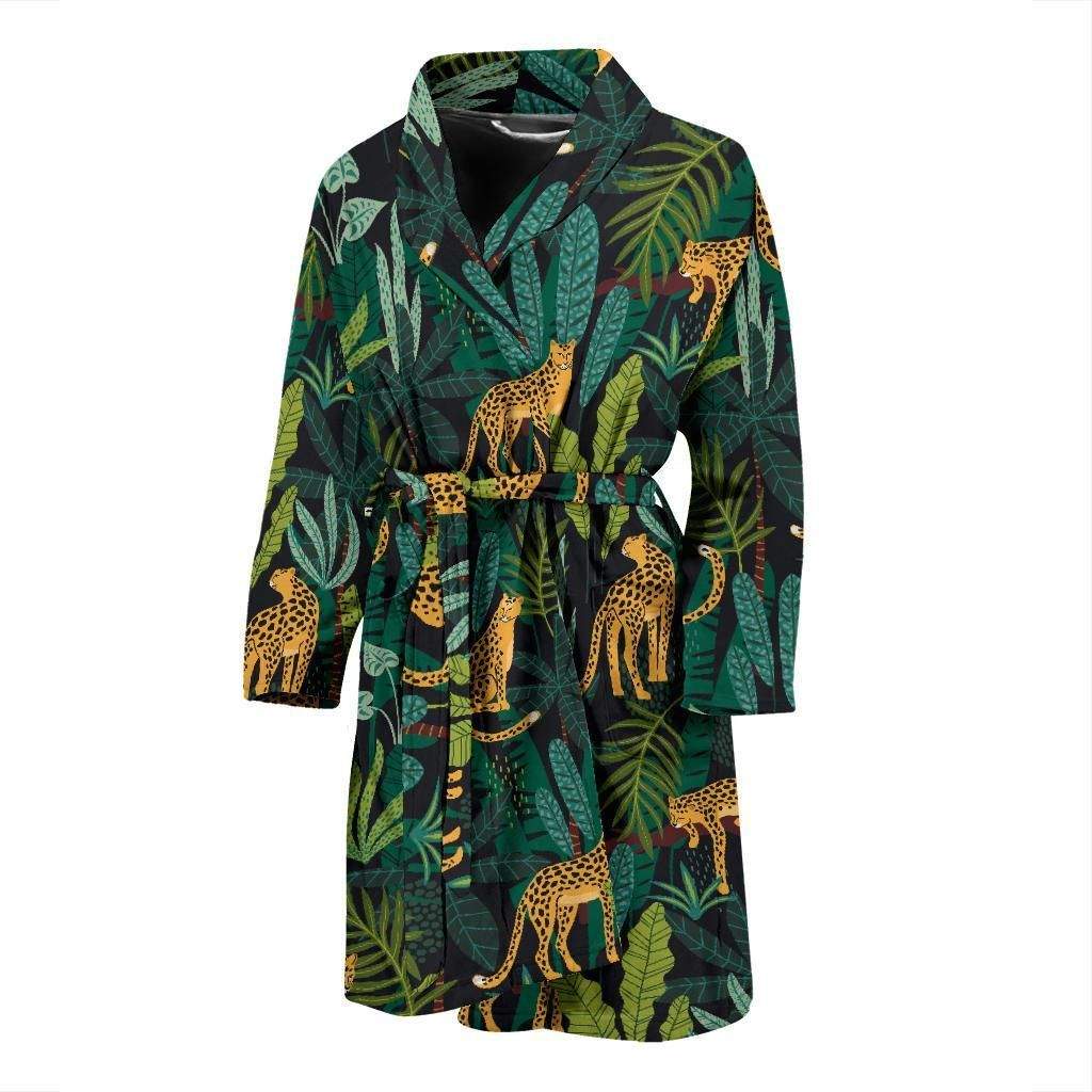 Jaguar Jungle Pattern Print Design 03 Men Bathrobe #junglepattern