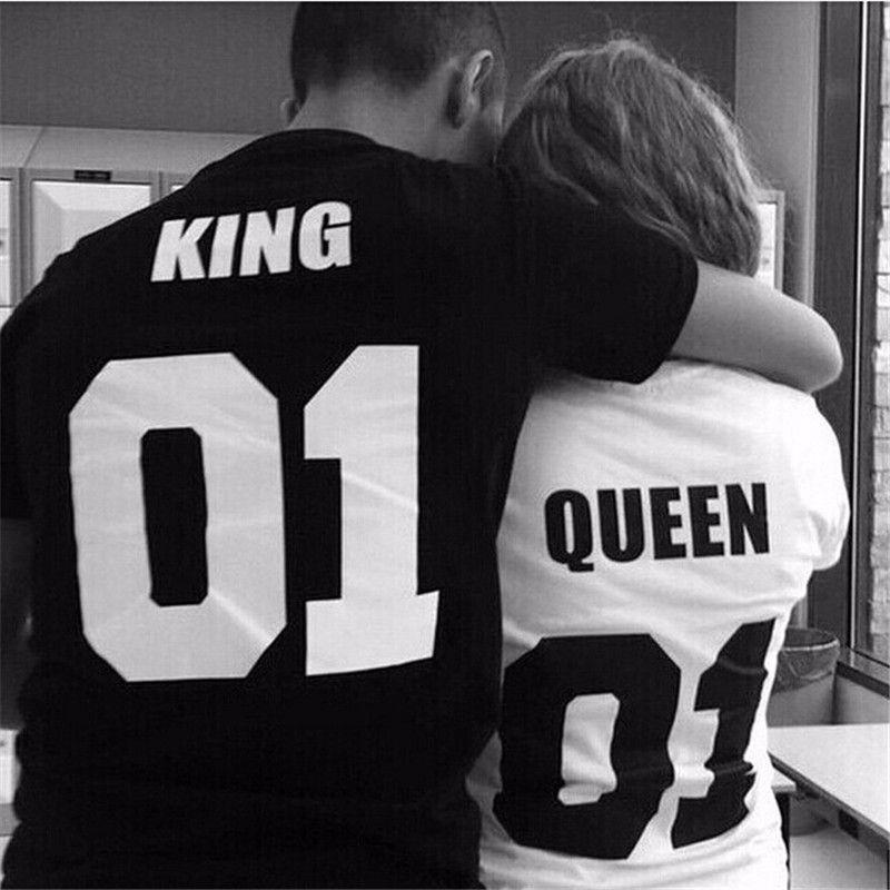 2016 Valentine Shirts Woman Cotton King Queen Funny Letter Print Couples Leisure T-shirt Man Tshirt Short Sleeve O neck T-shirt Honeymoonhunter.com #honeymoon #honeymoonlingerie #honeymoonhunter #selfie #selfiestick
