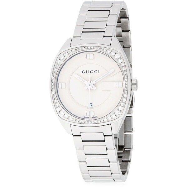 0ec259469e8 Gucci Diamond Studded White Gold Bracelet Watch ( 1