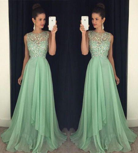 Crystal Chiffon Long Prom Dress Latest Beading Evening Gowns | eBay ...
