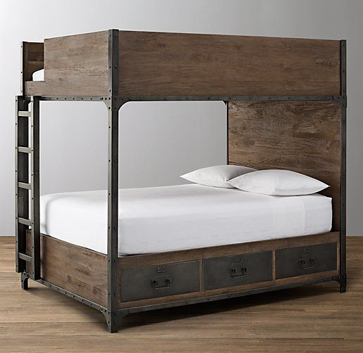 Industrial Locker Full Over Full Storage Bunk Bed   Restoration Hardware  $2999