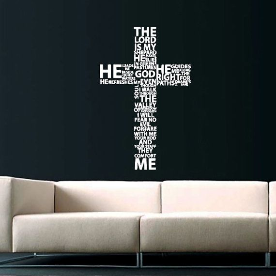 Cross Jesus Christ Wall Decal Religion Prayer Writing Decals Wall Vinyl Sticker God John Psalm Quote Interior Home Decor Art Bedroom SV5867 by ... & Cross Jesus Christ Wall Decal Religion Prayer Writing Decals Wall ...