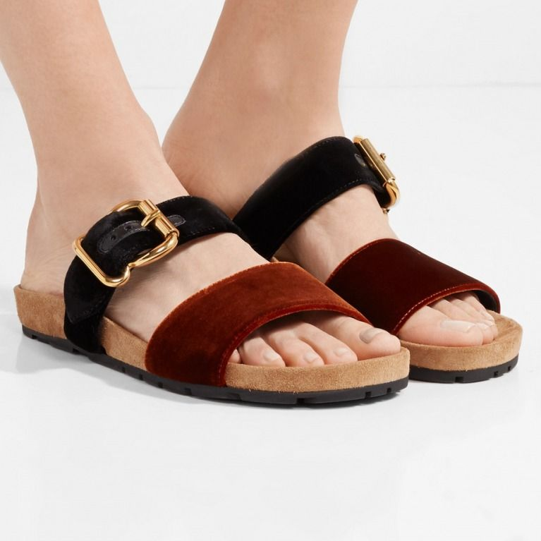 2244bc9364e Prada Two-tone velvet slides  women  shoes  footwear  sandal  shoe
