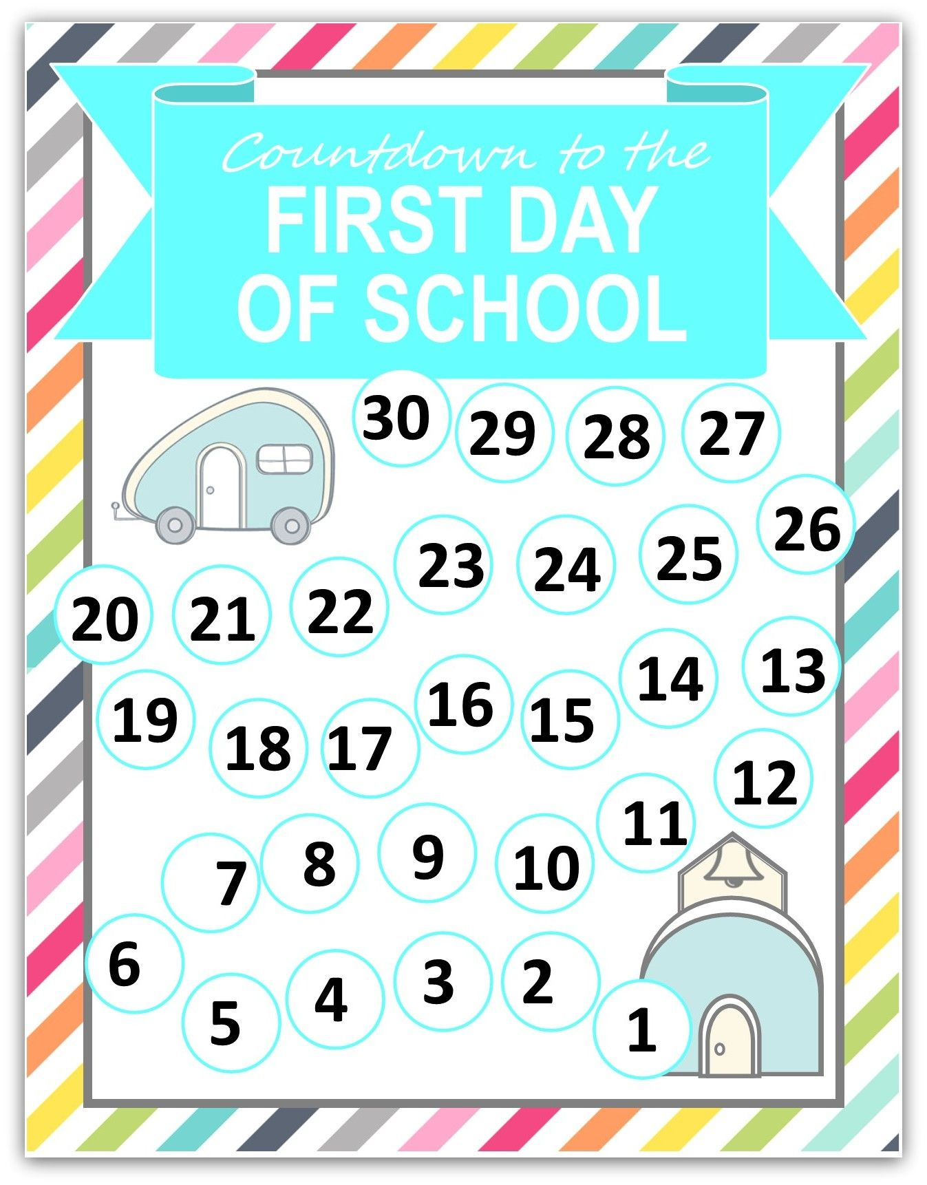 graphic about Countdown Printable titled Again towards College Countdown Printable and #Creativebuzz