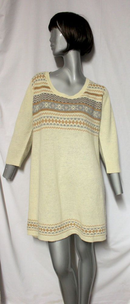 M&S Collection Oatmeal Fair Isle Nordic Knitted Jumper Dress Tunic  Size 18 #MarksSpencer #JumperDress #Everyday