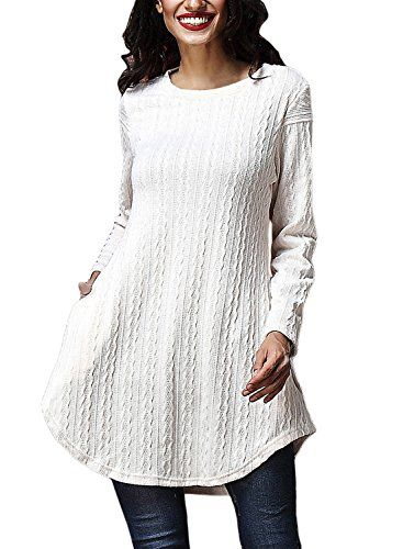 Astylish Women's Loose Sweater Knit Crewneck Tunic Long Sleeve Tops With Pocket