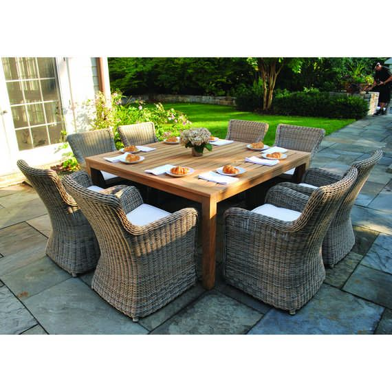 Kingsley Bate Elegant Outdoor Furniture Wainscott Square Dining Table With Sag Harbor Chairs In Driftwood