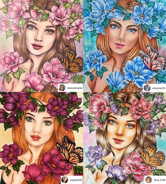 Lady Spring | Mariola Budek - Premium Coloring Page в 2020 ...