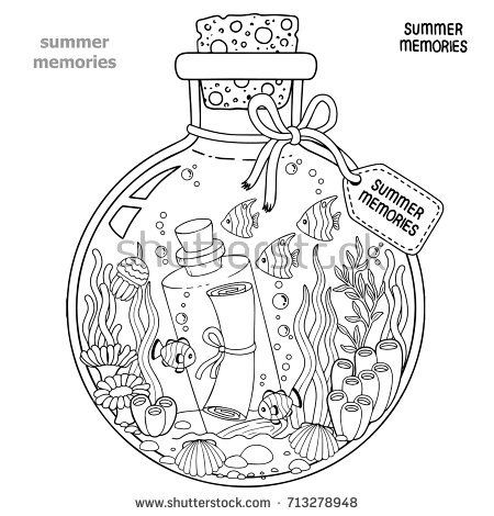Vector Coloring book for adults. A glass vessel with memories of ...