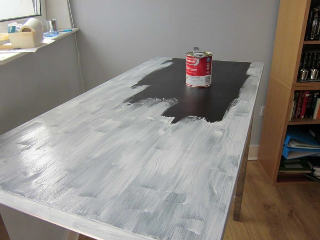 How to paint Ikea furniture - if not real wood, do not sand and use Adhesion Primer from Sherwin Williams. Dry and apply 2nd coat, then paint w/ finish paint