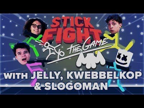 STICK FIGHT Battle Royale w/ Jelly, Kwebbelkop & Slogoman
